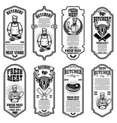 set meat store flyers design element vector image