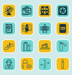 Set of 16 travel icons includes escalator down vector