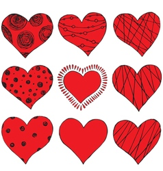 Set of hand drawing hearts vector