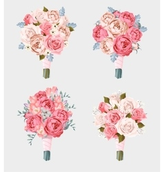 Set of wedding bouquets vector
