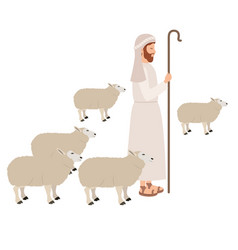 Shepherd with sheeps manger character vector