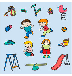 Sketch colored children amusements collection vector