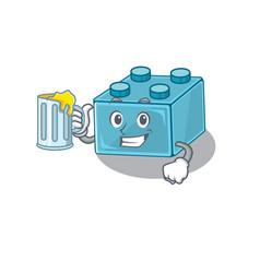 Smiley lego brick toys mascot design with a big vector