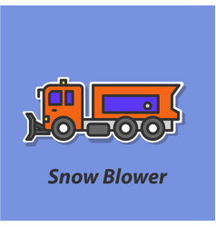 Snow blower color flat icon vector