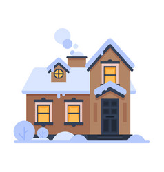 snowy suburban house rural wooden winter cottage vector image