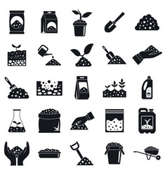 soil icons set simple style vector image