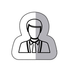 Sticker monochrome half body silhouette man vector