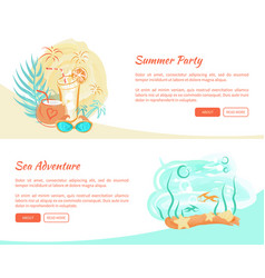 summer party poster cocktails and underwater world vector image