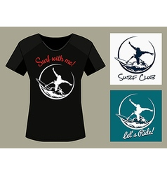 Surfer Club Print Design Template vector