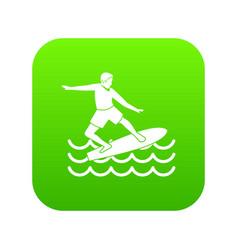 surfer icon digital green vector image