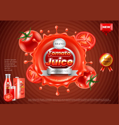 Tomato juice ads splashes on dark background vector