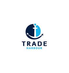 Trade harbour logo design vector