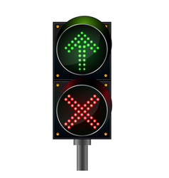 Traffic lights top arrow with crossword light vector
