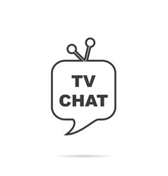 Tv chat logo with shadow on white background vector