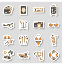 Vacation and Tourism Icons Sticker Set vector image