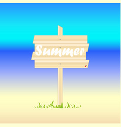 wooden shield with the word summer on a colored vector image