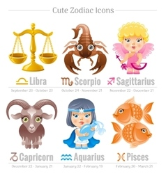 Zodiac astrological signs icon set Cute cartoon vector