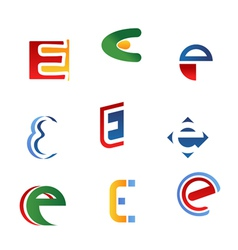 letter e symbols and icons vector image vector image