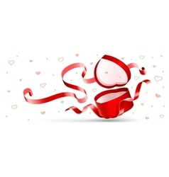 Open gift with red ribbon vector image vector image