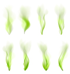 Set of green wave abstract background smoke line vector image