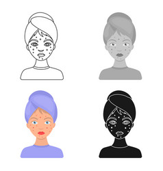 woman with acne icon in cartoon style isolated on vector image vector image