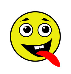 a cheerful smiley shows the tongue vector image