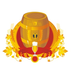 Beer a keg with a glass in a vignette vector image vector image