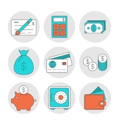 Finance outline icons vector image vector image