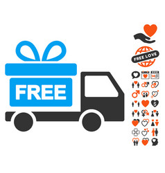 gift delivery icon with lovely bonus vector image