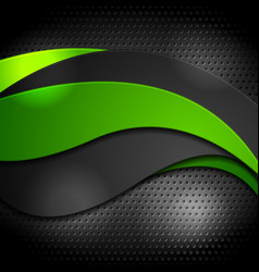 Green and black waves on perforated background vector