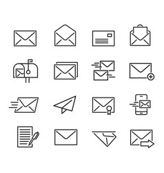 mail line icon set vector image