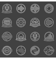 Recording studio labels and badges vector image