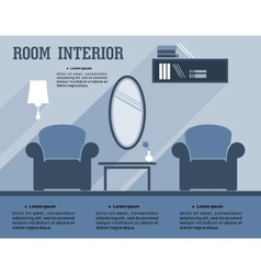 Room interior infographic template vector image