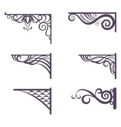 Vintage brackets for signboard silhouettes vector image