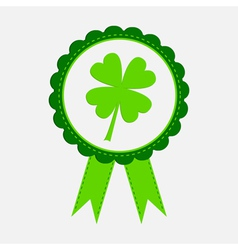 Award with clover leaf and ribbons Patricks day vector image vector image