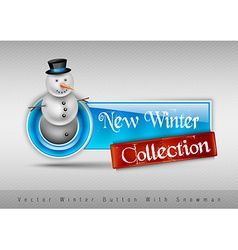 Blue glossy button with cute snowman Winter design vector image vector image