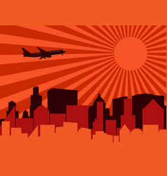 city aeroplane and sun vector image