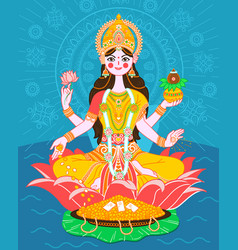 lakshmi on a lotus in a flat style vector image