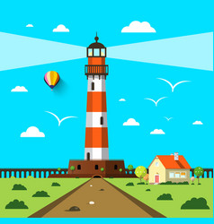 lighthouse with house and hot air balloon on vector image