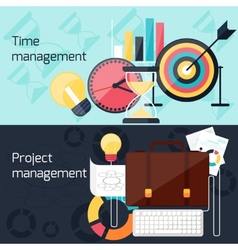 Project and time management flat design concept vector image