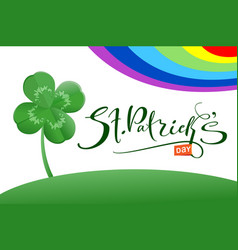 st patrick s day text greeting card and luck leaf vector image vector image