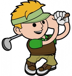 young man playing golf vector image vector image
