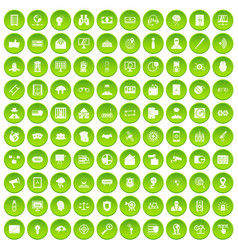 100 security icons set green vector