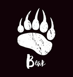 A trace a bear white silhouette of paw vector