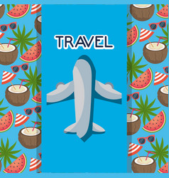Airplane transport coconut palms banner tourist vector