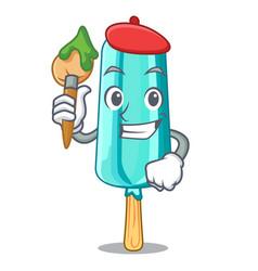 artist fruit ice cream on stick cartoon vector image