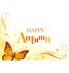 Autumn background with viceroy butterfly vector