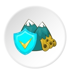 Avalanche in mountains and sign safety icon vector
