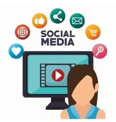 avatar monitor play social media isolated icon vector image