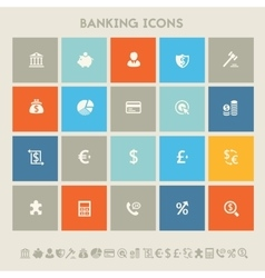 Banking icon set multicolored square flat buttons vector